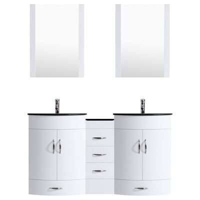 Peterman Modern 72 Double Bathroom Vanity Set with Mirror Base Finish: White