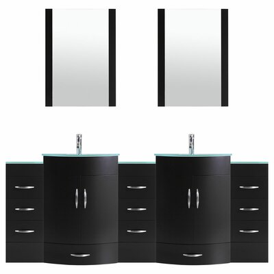 Peterman 84 Double Bathroom Vanity Set with Mirror Base Finish: Black