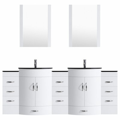 Peterman 96 Double Bathroom Vanity Set with Mirror Base Finish: White