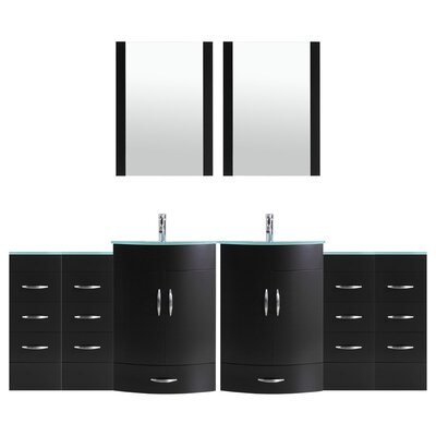Peterman Modern 120 Double Bathroom Vanity Set with Mirror Base Finish: Black