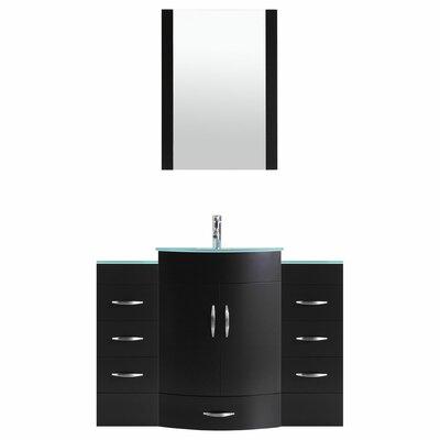 Peterman Modern 54 Single Bathroom Vanity Set with Mirror Base Finish: Black