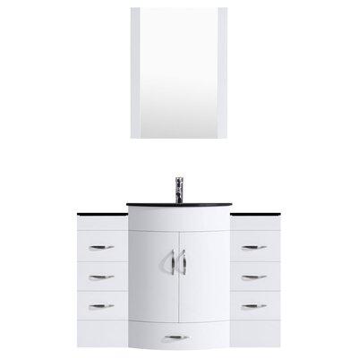 Peterman Modern 54 Single Bathroom Vanity Set with Mirror Base Finish: White