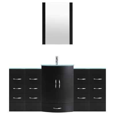 Peterman 72 Single Bathroom Vanity Set with Mirror Base Finish: Black