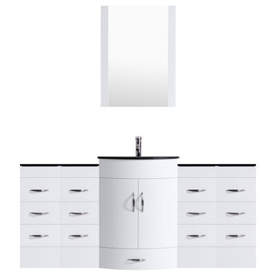 Peterman 84 Single Bathroom Vanity Set with Mirror Base Finish: White