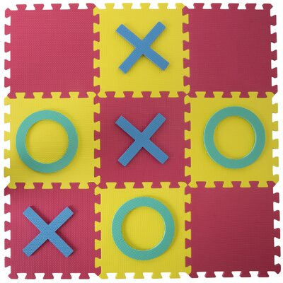 18-Piece Giant Interlocking Foam Square Tic Tac Toe Game Set