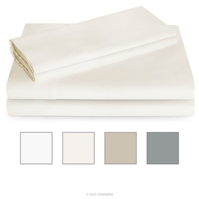 3 Piece 600 Thread Count Sheet Set Color: Ivory, Size: Cal King