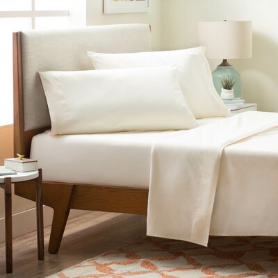 4 Piece Polyester Sheet Set Color: Ivory, Size: Twin