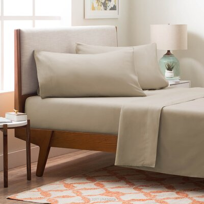 4 Piece Polyester Sheet Set Size: King, Color: Sand