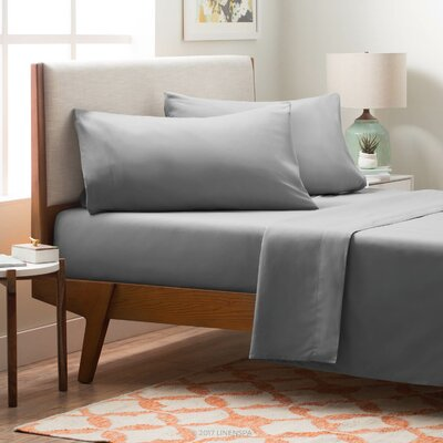4 Piece Polyester Sheet Set Color: Stone, Size: King