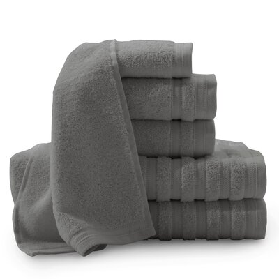 Gloster Pure Elegance Turkish 6 Piece Towel Set Color: Charcoal