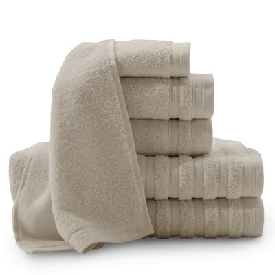 Pure Elegance Turkish 6 Piece Towel Set Color: Taupe