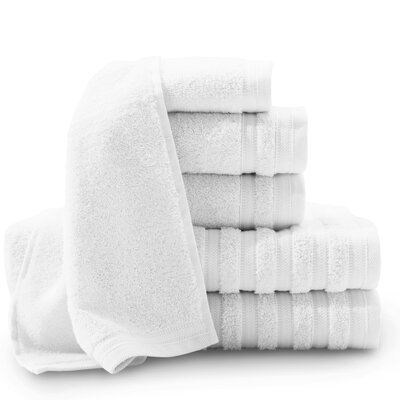 Pure Elegance Turkish 6 Piece Towel Set Color: Bright White