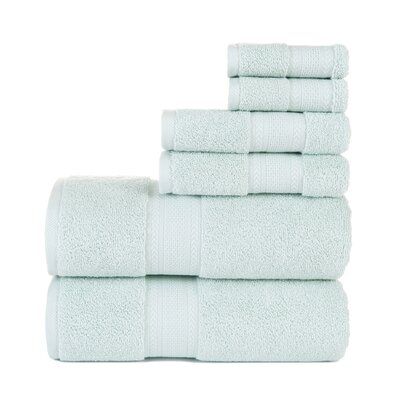 6 Piece Cotton Towel Set Color: Mist Blue