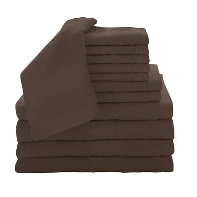 Solid 12 Piece Towel Set Color: Espresso