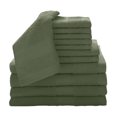 Solid 12 Piece Towel Set Color: Avocado