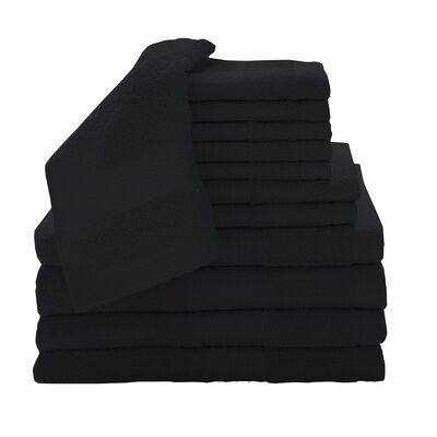 Solid 12 Piece Towel Set Color: Ebony