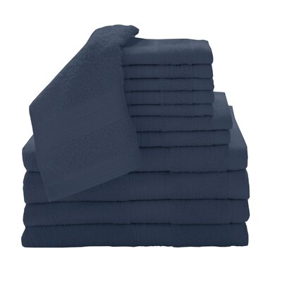 Solid 12 Piece Towel Set Color: Cobalt
