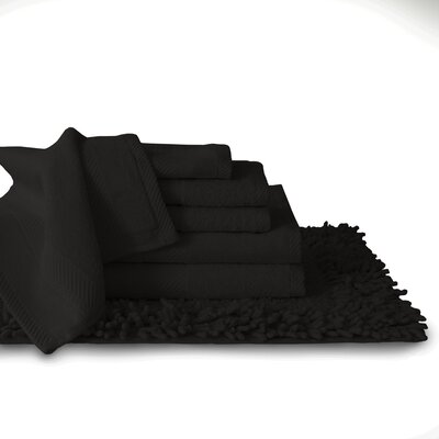 7 Piece Towel Set Color: Black