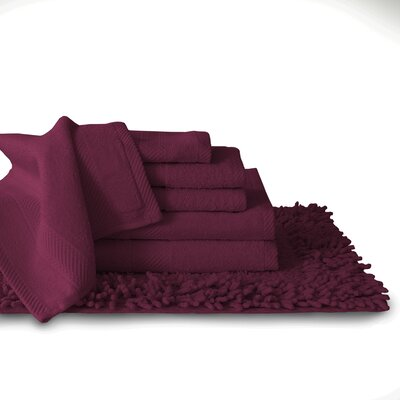 7 Piece Towel Set Color: Wine