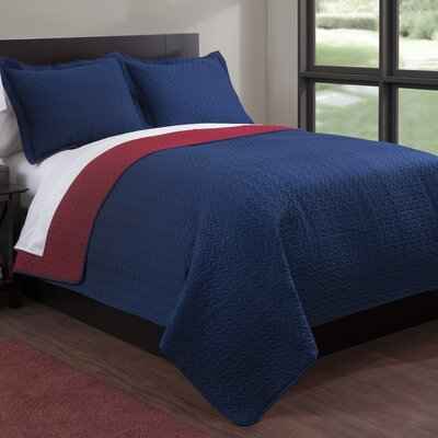 Microfiber Quilt Set Color: Navy/Red, Size: Full/Queen