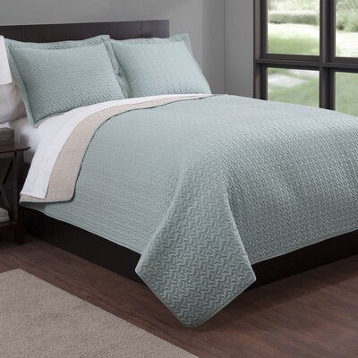 Microfiber Quilt Set Color: Camel/Sage, Size: King