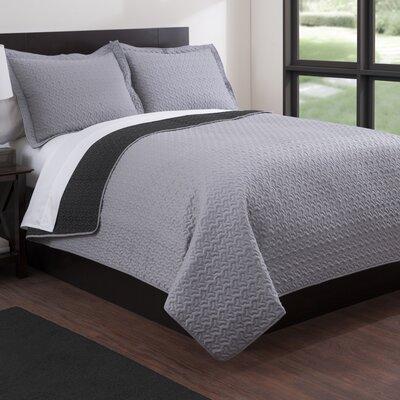 Microfiber Quilt Set Color: Black/Gray, Size: King