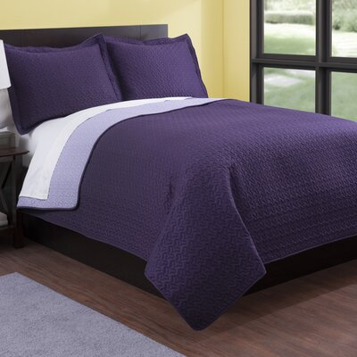 Microfiber Quilt Set Color: Plum/Lilac, Size: Full/Queen