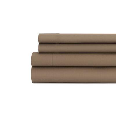 Tamarack 400 Thread Count Cotton Satin Sheet Set Color: Mocha, Size: Queen