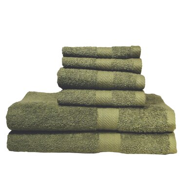 Ultra Soft Absorbent 6 Piece Towel Set Color: Moss Green