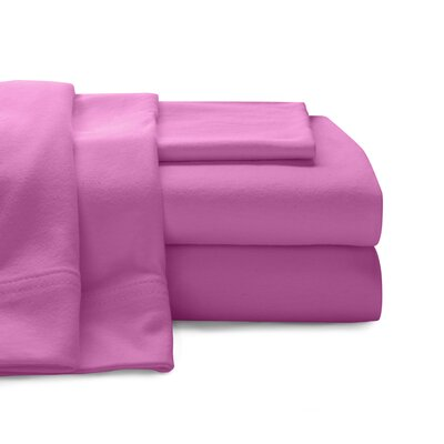 Mccoy Super Soft Jersey 100% Cotton Sheet Set Size: Twin, Color: Bright Pink
