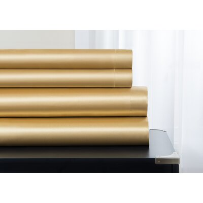 Janey Elegance Satin Sheet Set Color: Gold, Size: Queen