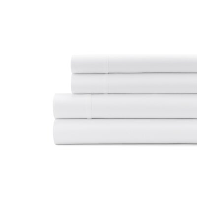 Hagins 300 Thread Count Sheet Set Size: Queen, Color: White