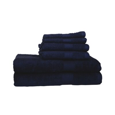 Ultra Soft Absorbent 6 Piece Towel Set Color: Navy