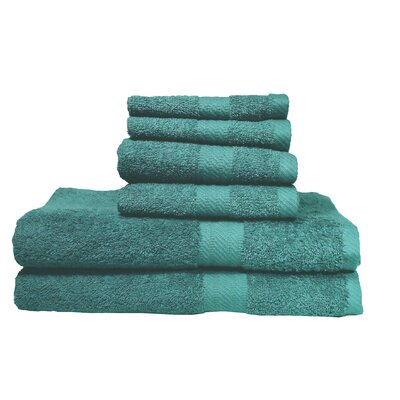 Ultra Soft Absorbent 6 Piece Towel Set Color: Teal