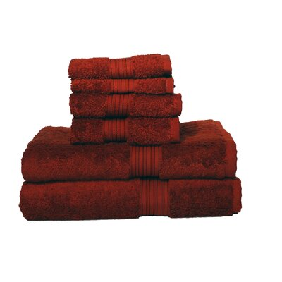 Egyptian Majestic 6 Piece Towel Set Color: Red