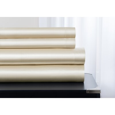 Janey Elegance Satin Sheet Set Size: King, Color: Ivory