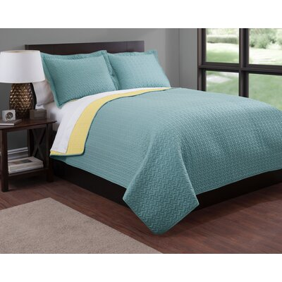 Almeda Fashionable Linen Reversible Quilt Set Size: Full/Queen, Color: Golden Haze