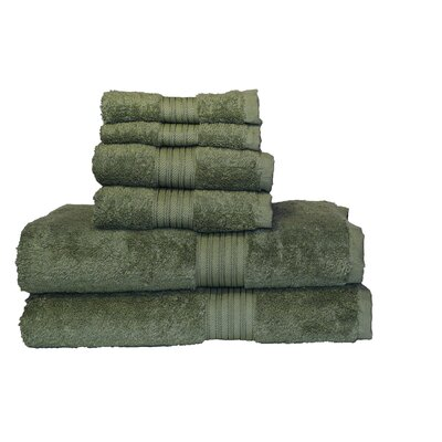 Egyptian Majestic 6 Piece Towel Set Color: Moss Green