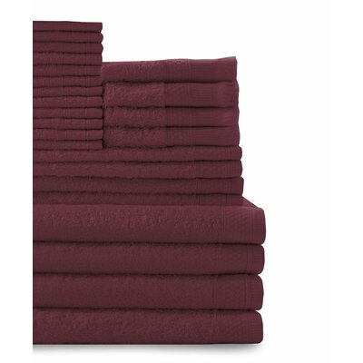 24 Piece Towel Set Color: Crimson