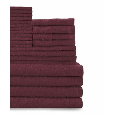 24 Piece Towel Set Color: Crimson