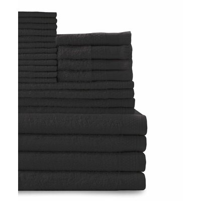 24 Piece Towel Set Color: Black