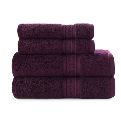 Luxury Rayon 4 Piece Towel Set Color: Purple Oxford