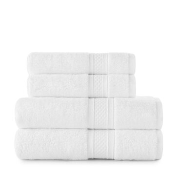 Luxury Rayon 4 Piece Towel Set Color: Arctic White
