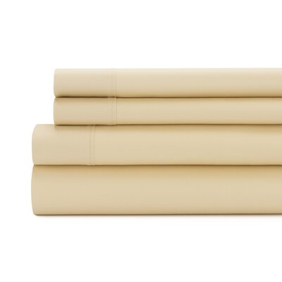 Tamarack 400 Thread Count Cotton Satin Sheet Set Size: Full, Color: Gold