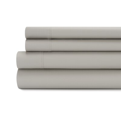 Tamarack 400 Thread Count Cotton Satin Sheet Set Size: Full, Color: Platinum