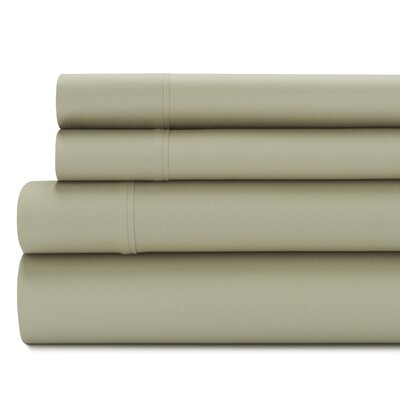 Tamarack 400 Thread Count Cotton Satin Sheet Set Size: King, Color: Dust sage