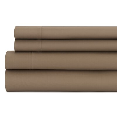Tamarack 400 Thread Count Cotton Satin Sheet Set Size: Full, Color: Mocha