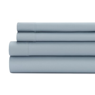 Tamarack 400 Thread Count Cotton Satin Sheet Set Size: King, Color: Blue dusk