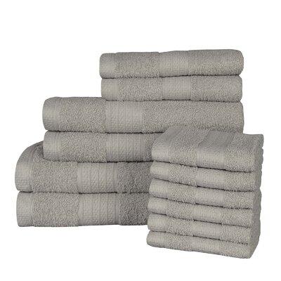 Solid 12 Piece 100% Cotton Towel Set Color: Lunar Rock