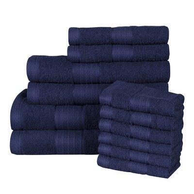 Solid 12 Piece 100% Cotton Towel Set Color: Medieal Blue